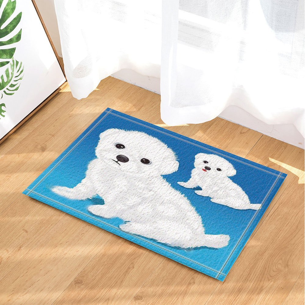 Kids Love Animals Decor, Catoon Baby Puppy Dog in Sapphire Blue for Kids Bath Rugs, Non-Slip Doormat Floor Entryways Indoor