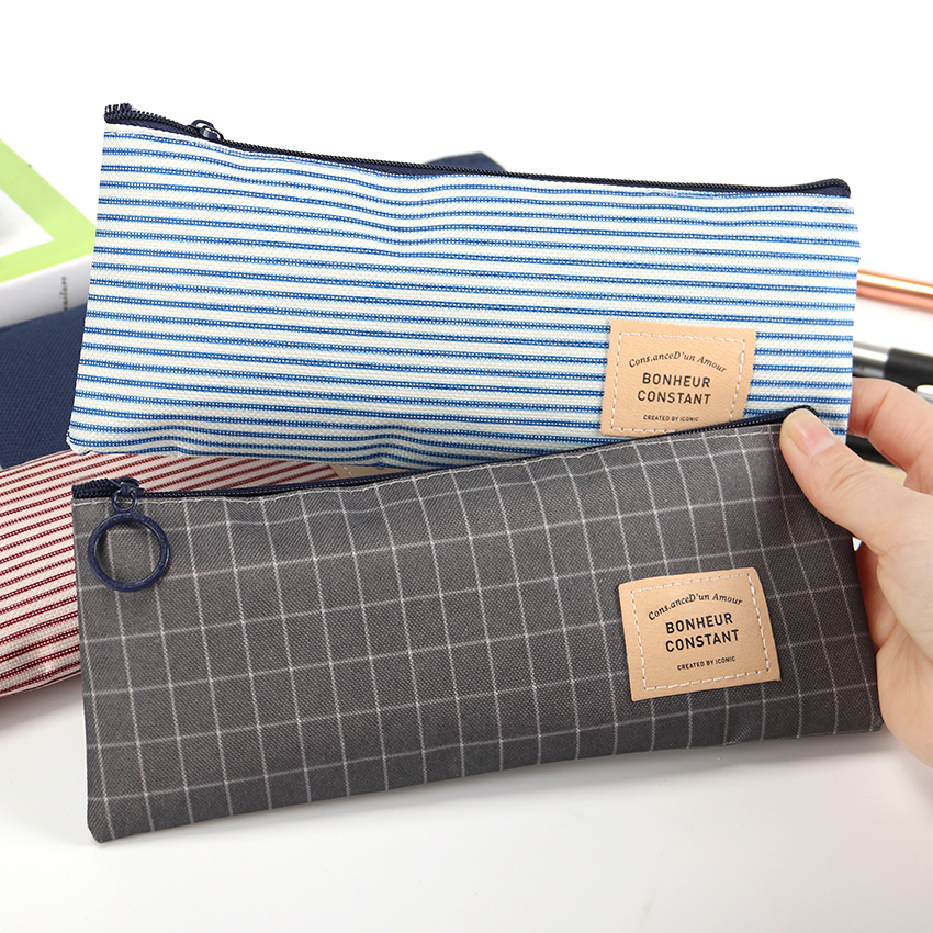 1PC Stripes Pencil Bag Zipper Stationery Storage Bags Pencil Pouch Office Stationery Canvas Pencil Case