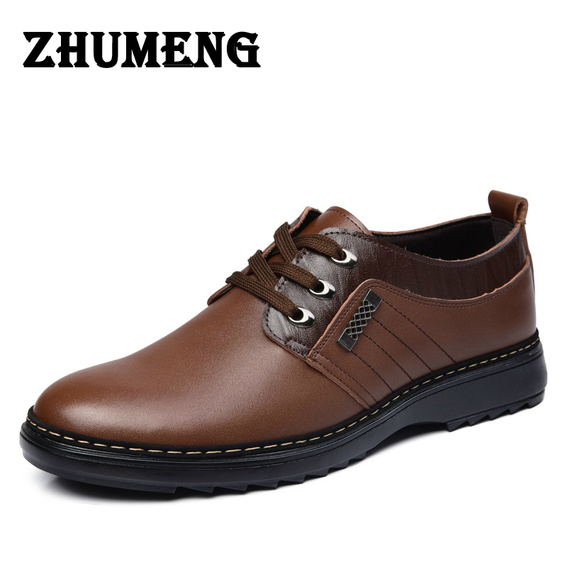 Men Shoes Leather Flats High Quality Comfortable Soft Shoes Men Oxfords Brown Luxury Footwear New 2017 Spring Chaussure Casual