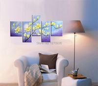 Handmade Modern Beautiful Plant Wall Art Calligraphy Picture Hand painted Impressionist Yellow Flower Unique Canvas Oil Painting