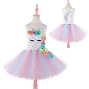 Image 2 - Moeble Fiore Unicorn tutu Vestiti delle ragazze con la fascia di Halloween Di Natale Cosplay Costume Dei Capretti Dei Bambini Di Compleanno vestiti da partito