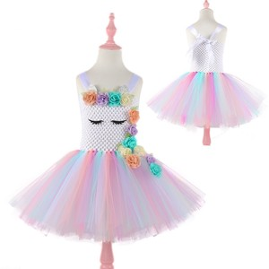 Image 2 - Moeble Flower Unicorn tutu Dresses girls with headband Halloween Christmas Cosplay Costume Children Kids Birthday party dresses