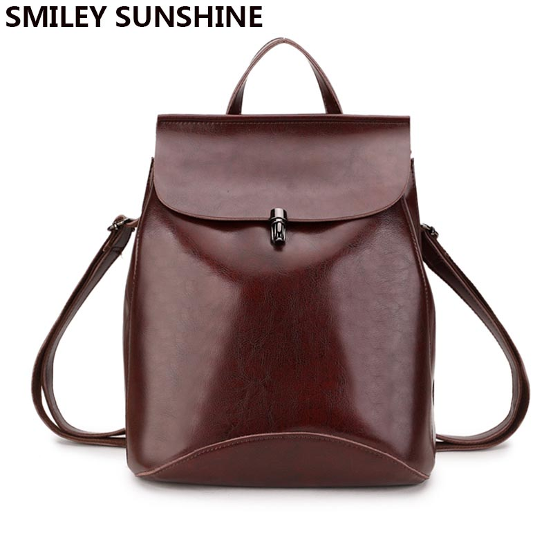 High Quality Genuine Leather Women Backpacks Shoulder Bags 2018 Female Multifunction Back pack School Bags for
