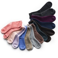 100%goat cashmere thicken knitted women socks solid color EU/26 39