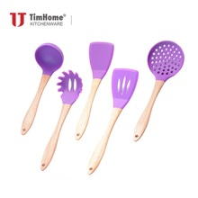 Timhome Wooden Handle Utensil Set 5PCS Cookware Food Grade Silicone Kitchen Utensils Cooking Tools