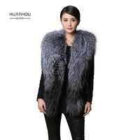 Huanhou queen Real Silver fox fur vest, fashion slim with full pelt warm and not lossing silver fox fur vest,silver fox fur coat