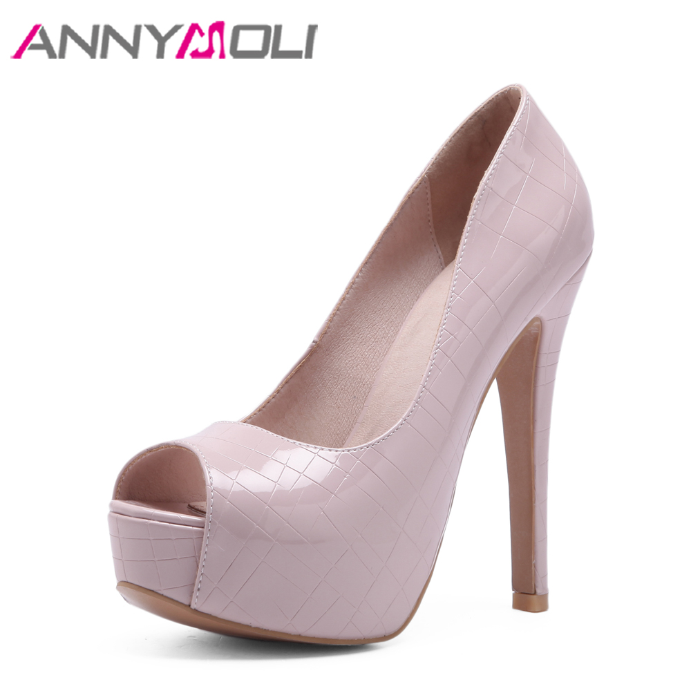 ANNYMOLI Women Pumps Extreme High Heels <font><b>Sexy</b></font> Bridal Wedding <font><b>Shoes</b></font> Platform Peep Toe 2018 Spring <font><b>Shoes</b></font> Pink Big <font><b>Size</b></font> <font><b>11</b></font> 33-46 image
