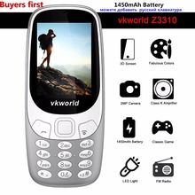 Original Vkworld Z3310 3D Pantalla 2.4 pulgadas Teléfonos Móviles de Luz LED Altavoz Radio FM 2MP Dual SIM 1450 mAh batería del teléfono Celular