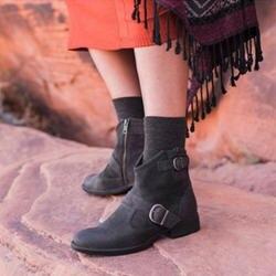 Осень на низком каблуке женские ботинки пряжка на ремешке Модные Ретро ботинки Дамская обувь botas feminina NB240
