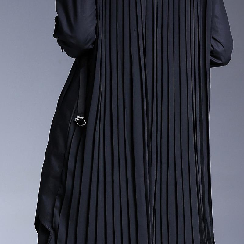 Autumnlapel Plissiert Lange Bluse Mode Gemeinsamen Einfarbig Unregelmige Schwarz Gro Jd328 e eam2019 Flut Schwarz Gre Frauen New Split 0PkwO8n