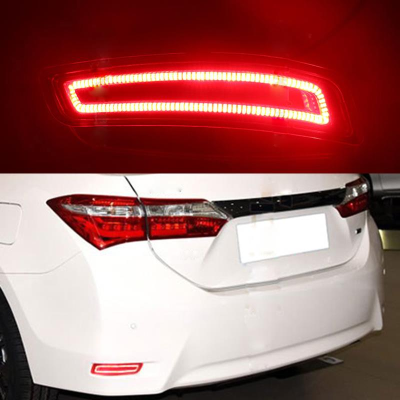 ФОТО 2Pcs/Pair Car Styling LED Warning Trunk Rear Bumper Lamp Turn Signal Reflector Brake Light For Toyota Corolla 2013+ 2014 2015