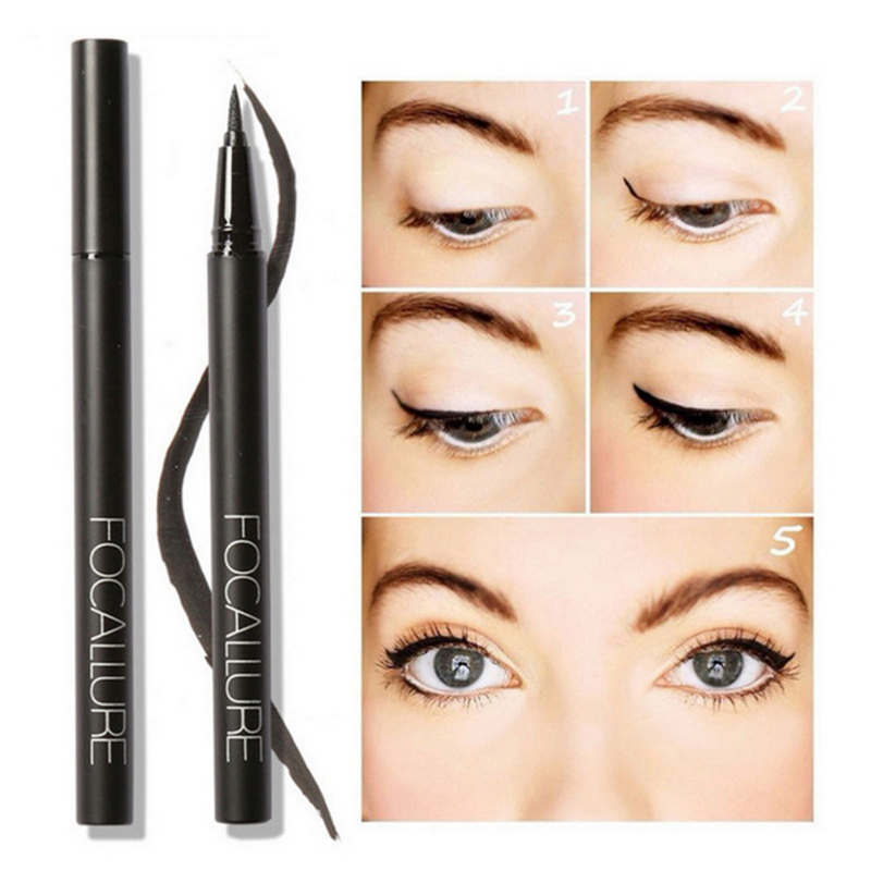 FOCALLURE 1Pc NEW Black Long-lasting Waterproof Eyeliner Liquid Natural Eye Liner Pen Pencil Makeup Cosmetic Beauty Tool Women