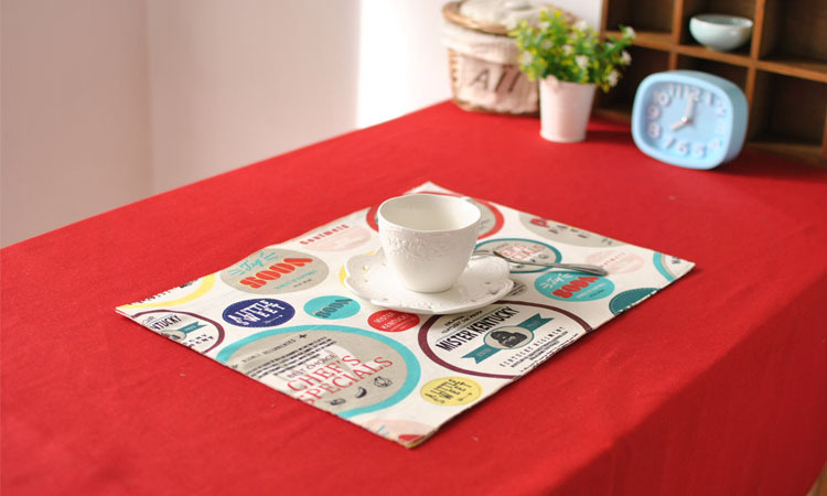 [RainLoong] Fashion Printed Table Mat Pad With Lace Thermal Insulation For Tableware Dinning Kitchen Decoration 40x30cm