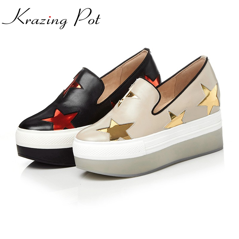 Krazing Pot full grain leather shoes women round toe slip on women leisure causal five-star pattern beauty increased shoes L66 krazing pot empty after shallow shoes woman lace work flats pointed toe slip on sheep suede causal summer outside slippers l16