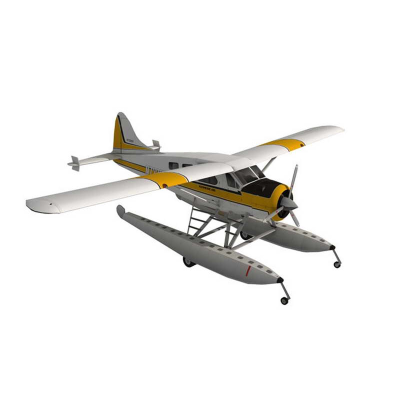 DIY 1:32 45cm DHC-2 Beaver  Seaplane Plane Aircraft Paper Model Assemble Hand Work 3D Puzzle Game Kids Toy