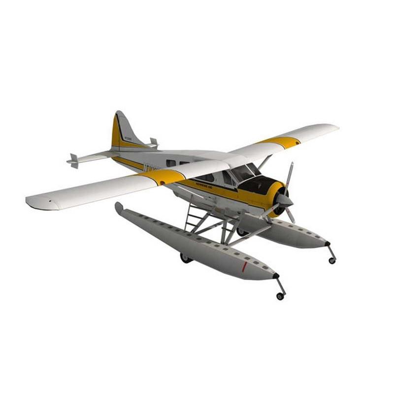 DIY 1:32 45cm DHC-2 Beaver  Seaplane Plane Aircraft Paper Model Assemble Hand Work 3D Puzzle Game Kids Toy