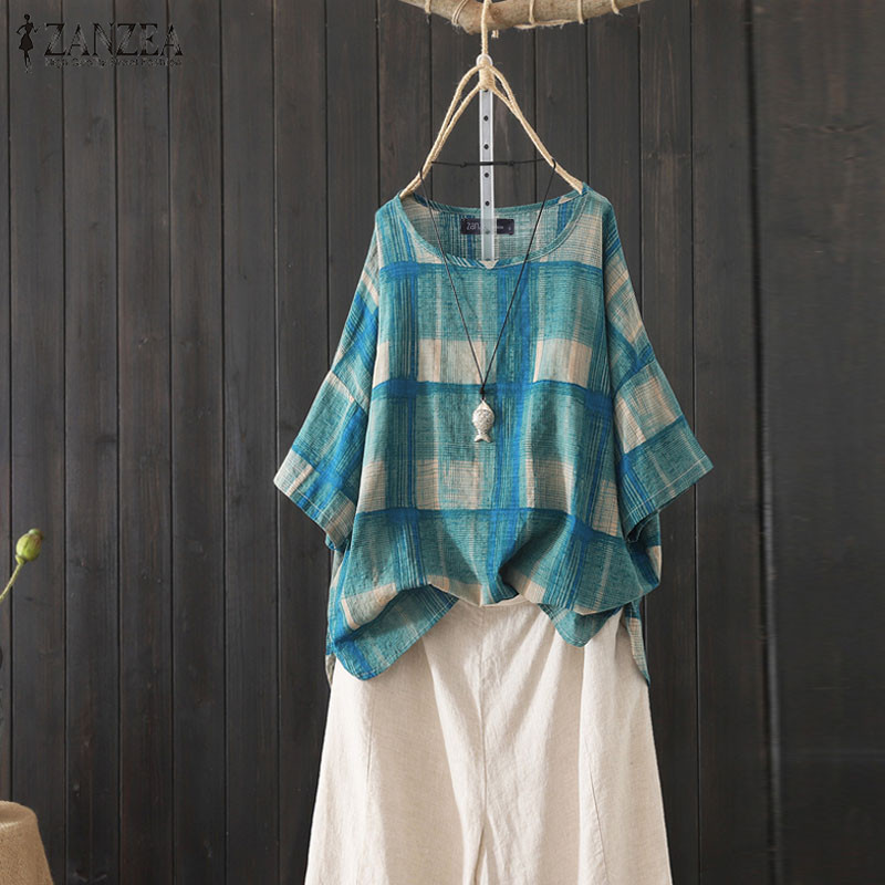 2019 Plus Size ZANZEA Casual Check   Blouse   Summer Short Sleeve Tunic Tops Women Polka Dot Printed Party   Shirts   Female Blusas 5XL