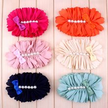 120pcs 7 Colors Chiffon Flower With Six Pearl And Mini Satin Bow Headband Accessories Flat Back Flower For Headband