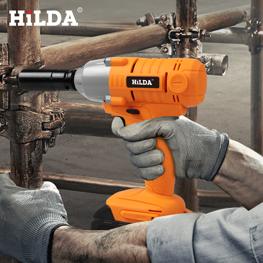 HILDA 21V Cordless Impact Electric Wrench Brushless Socket Wrench Power Tools 7