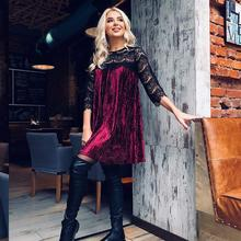 liva girl Sexy Lace Patchwork Velvet Dress 2018 Spring Autumn Three Quarter Casual Women Clothing New Year Fashion Women Dress