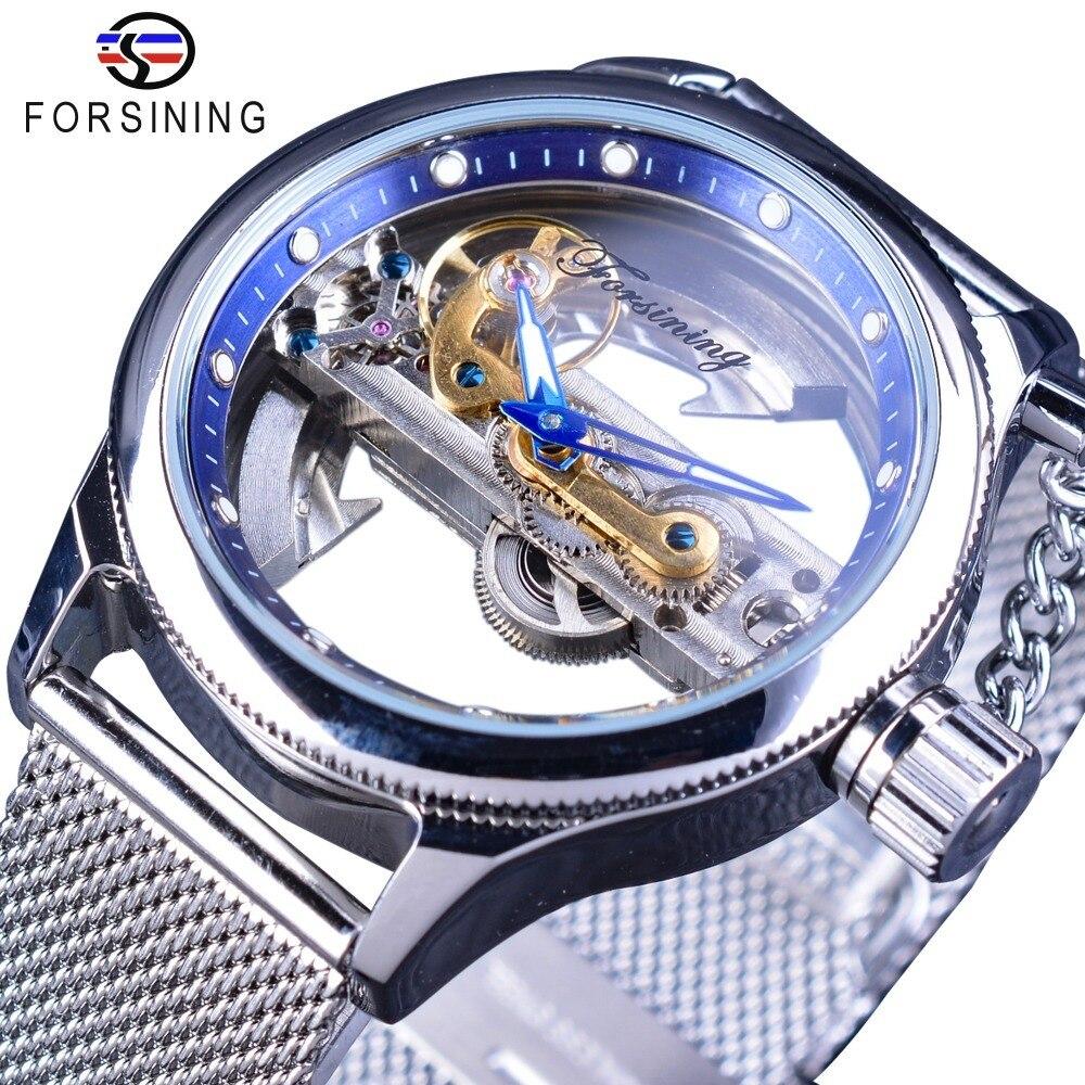 Forsining bleu océan mystérieux Apple maille bande Double face Transparent créatif squelette montre Top marque luxe automatique horloge-in Montres mécaniques from Montres    1
