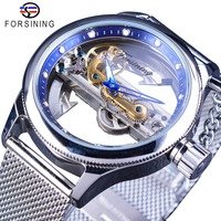Forsining oceano azul misterioso apple malha banda dupla face transparente criativo esqueleto relógio de topo marca luxo relógio automático