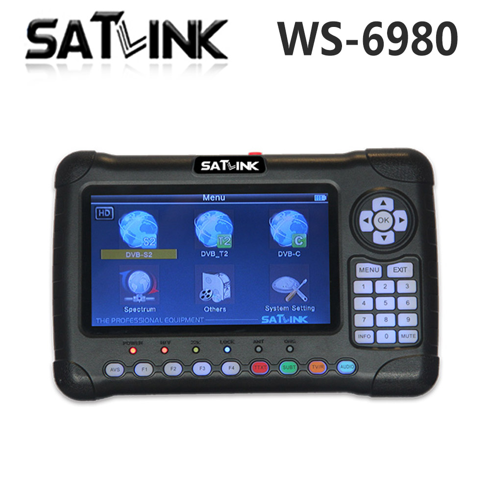 Satlink WS-6980 7inch HD LCD Screen DVB-S2 DVB-T DVB-T2 DVB-C WS 6980 Combo Finder with Spectrum Analyzer constellation Meter free ship original satlink ws 6980 dvb s2 dvb c dvb t2 combo 7 spectrum analyzer satellite finder meter ws6980