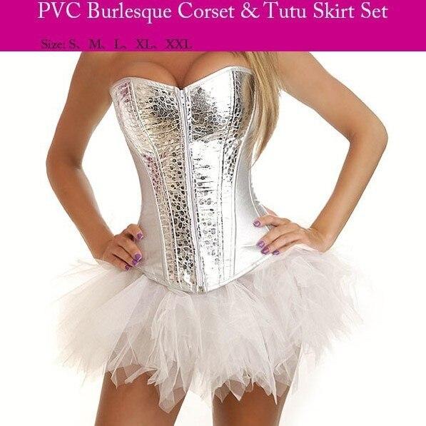 Corzzet Lolita Prata PVC Zipper Gótico Overbust Espartilhos e Corpetes Aço Desossado Espartilho e Saia Mulheres Corsage Vestido Set