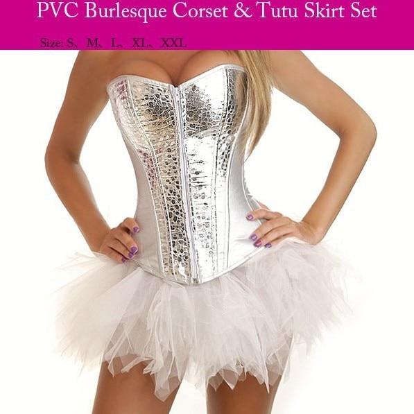 Corzzet Lolita Silver PVC Zipper Gothic Overbust   Corsets   and   Bustiers   Steel Boned   Corset   and Skirt Women Corsage Dress Set