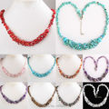 """Pretty 9 Kinds of Stone Red Coral Turquoise Quartz  Amethyst Carnelian Chip Beads Necklace Strand 18""""L--20"""""""