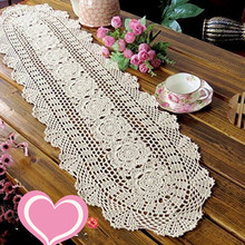 FADFAY Rustic Floral Crochet Table Runners Beige Cotton Table Runner Lace Tablecloth Oval Table Runners for Weddings 11.8''*55''