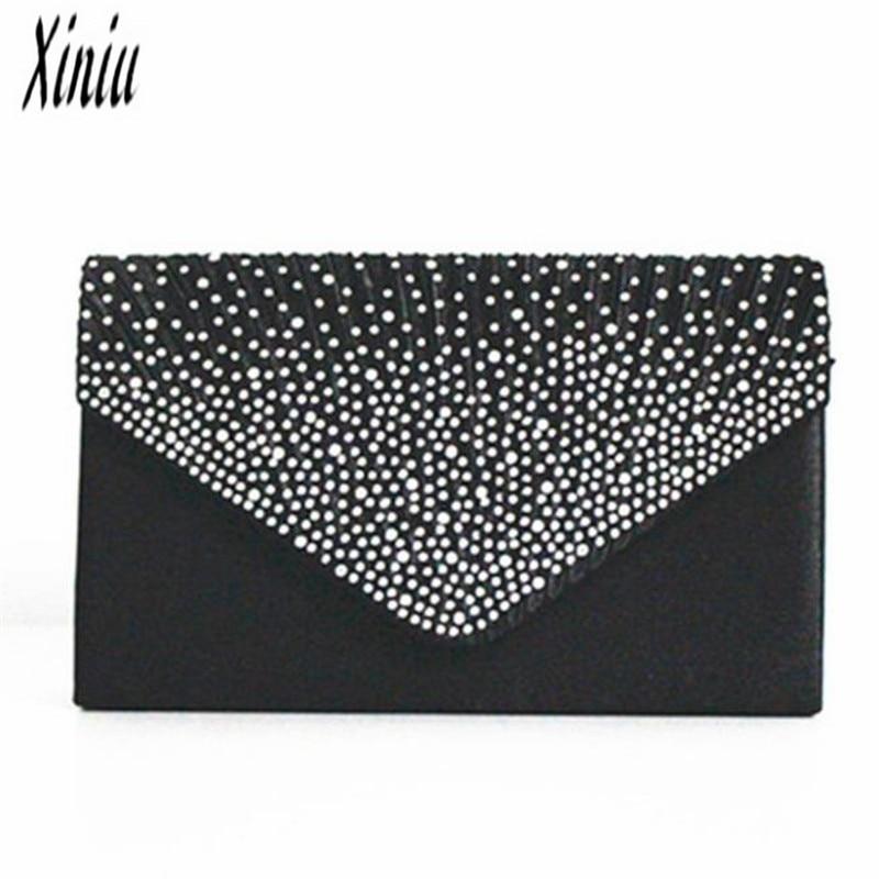 2018Ladies Large Evening Bags Satin Diamante Ladies Clutch Bag Party Prom Envelope bags Sacos Senhoras Female Messenger bag 3