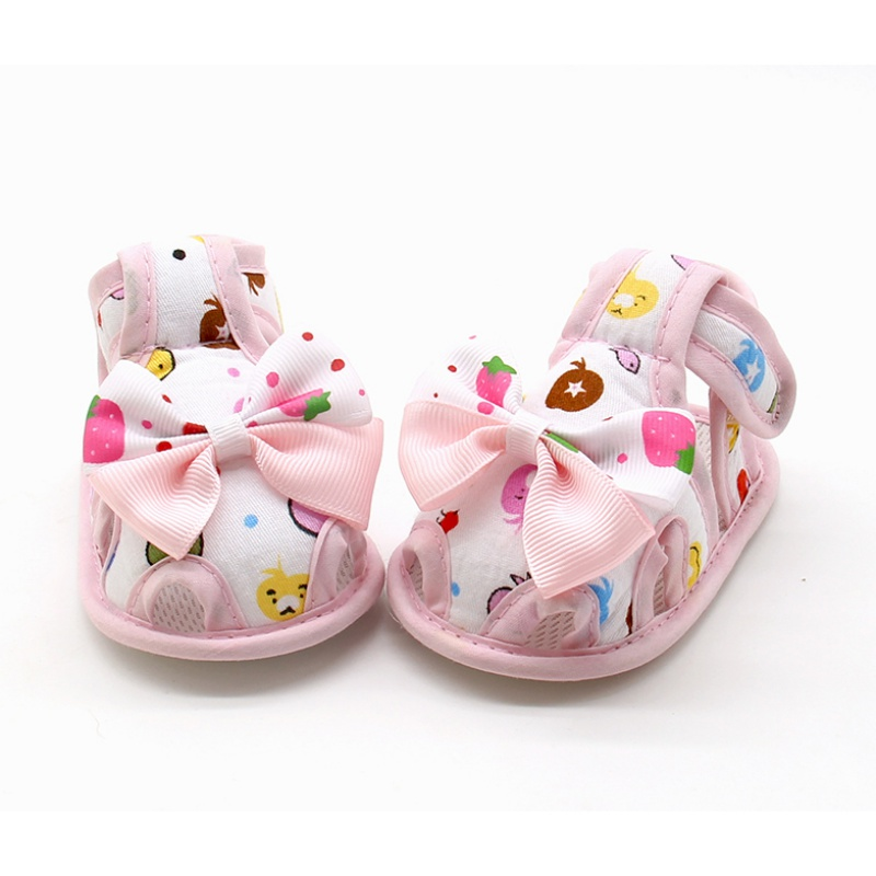 Summer Newborn Cute Baby Girls First Walkers Bow-knot Printed Princess Style Breathable Shoes Prewalkers 0-18M