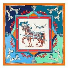 POBING Luxury Brand 100% Twill Silk Scarf Women France War Horse Print Silk Square Scarves &Wraps Large Shawls Stoles Head Hijab
