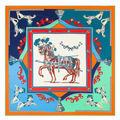 2016 New Arrival Luxury Brand 100%Twill Silk Woman Scarf Square Scarf France War Horse Print Silk Scarf&Wraps Hijab Female Scarf