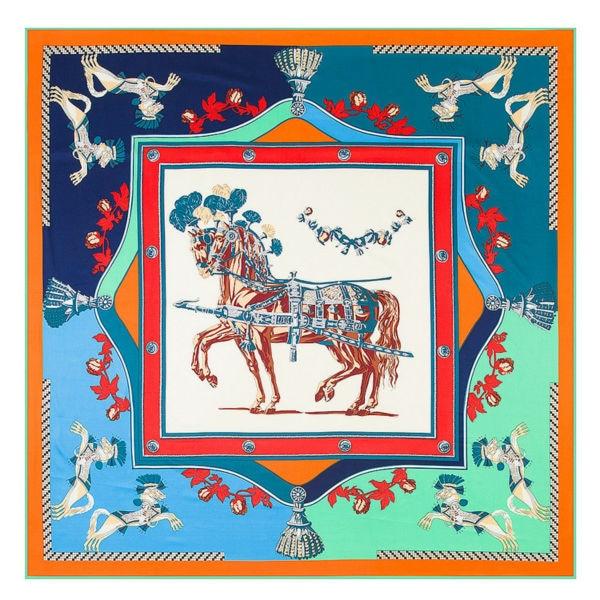 POBING Luxury Brand 100% Twill Silk   Scarf   Women France War Horse Print Silk Square   Scarves   &  Wraps   Large Shawls Stoles Head Hijab