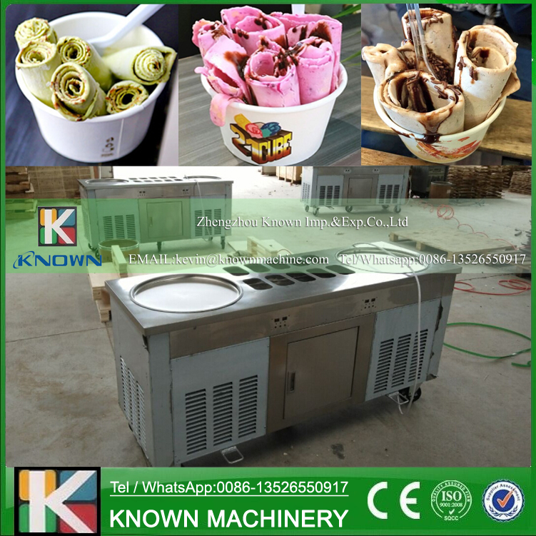 The high quality of 2 pans with 10 trays of topping bar fried ice cream roll machineThe high quality of 2 pans with 10 trays of topping bar fried ice cream roll machine