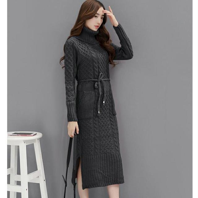 Winter Women Knitted Dresses 2017 Korea Pure Color Long Sleeve Turtleneck Casual Slim Warm Maxi Sweater Dress Plus Size BH094