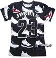 Estilo de verano hombres de la camiseta/mujeres JORDAN 23 zapatos clásicos de impresión 3d camiseta hip hop camiseta más el tamaño S-3XL Envío Libre