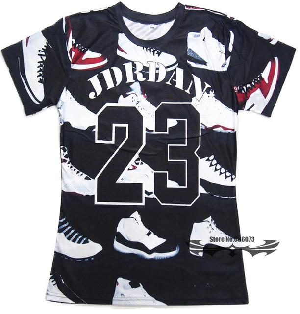 Estilo do verão t camisa dos homens/mulheres JORDAN 23 sapatos clássicos de impressão 3d t camisa hip hop t camisa plus size S-3XL Frete grátis