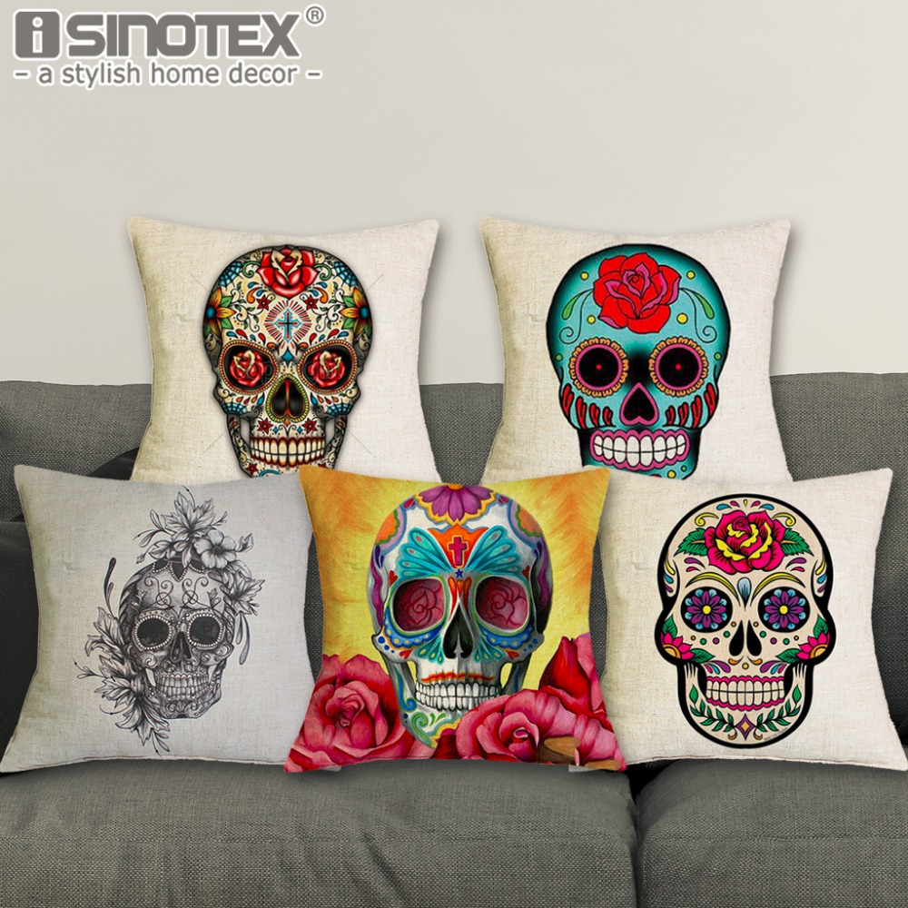 43*43cm Sugar Skull Cushions Linen Cushion Cover Day of Dead Throw Pillow Case Decorative Pillowcase For Living Room Bed Room