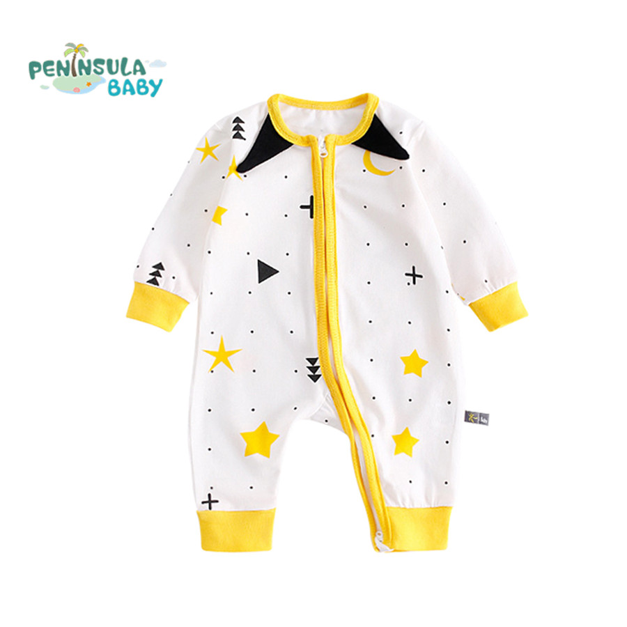 Brand Baby Rompers Long Sleeves Cotton Baby Jumpsuit Pajamas Printed Zipper Newborn Infant Girls Boys Autumn Clothes Costume 2017 children s clothing pajamas newborn baby rompers baby cotton long sleeved overalls boys girls autumn bebes clothes sr105