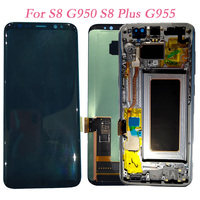 Super AMOLED For Samsung Galaxy S8 G950 G950F Touch Screen Digitizer LCD Display Frame For Samsung G955 S8 Plus G955F Assembly