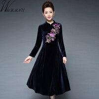 Wmwmnu 2017 Women Elegant Vintage Embroided Velvet Autumn Winter Dress Slim Casual Business Party Dress Fit