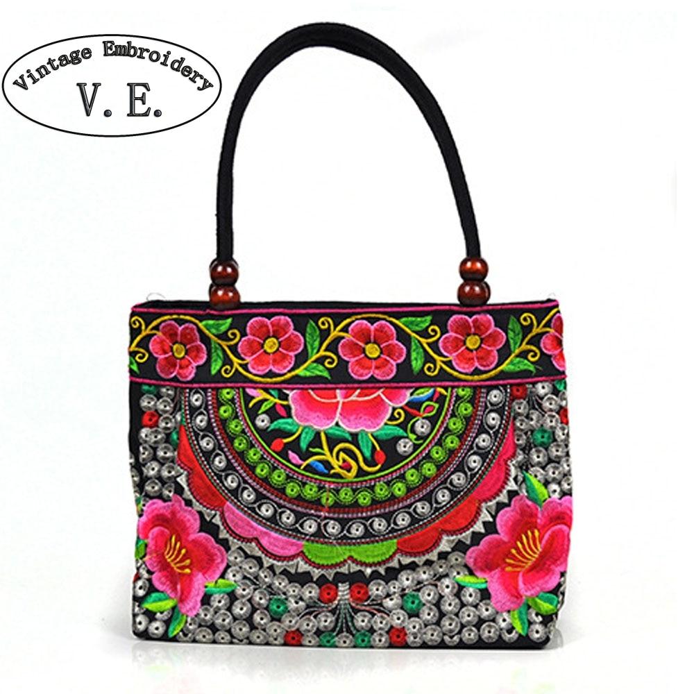 Vintage Embroidery Women Handbag National Ethnic Canvas Totes Wood Beads Double Layered Travel Shoulder Bag Sac Femme Bolsos