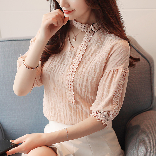 New 2018 Summer Women Shirts Chiffon Short Sleeve Female Blouses Sweet  Fresh Fairy Tops Pink Sweet Loose Lace  Tops D657 30
