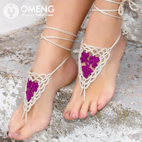 OMENG Crochet Barefoot Sandals Nude Shoes Foot Jewelry Beach Wedding Sexy Anklet Bellydance Beach Footwear Anklet