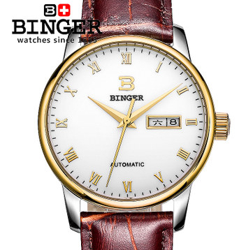 Cool Binger Designer Gentleman Self Wind Wrist Watch Roman Number Analog Brown Leather New Watches Bling Gold Free Shipping binger 2017 woman gold skeleton transparent self wind automatic watch elegant ladies black wrist watches female birthday gifts