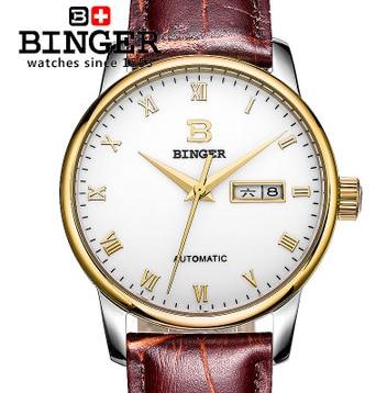 Cool Binger Designer Gentleman Self Wind Wrist Watch Roman Number Analog Brown Leather New Watches Bling Gold Free Shipping автомобильная ключница cool wind gs4 gs5 ga3s ga6
