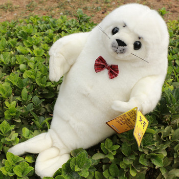 big size lovely plush high quality seal toy white bow seal doll about 60cm